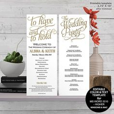Printable wedding program Wedding program by MyPrintablePaperie Diy Wedding Programs, Diy Wedding Stationery, Printable Wedding Programs, Wedding Signs, Seating Chart Template, Program Template, Wedding Weekend Itinerary, Advice For Bride, Welcome To Our Wedding