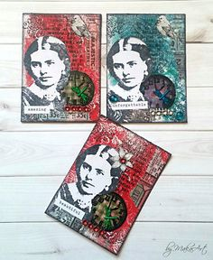 """My ATCs """"Lady"""" - Gelli background... Welcome to my blog!      Today I would like to show youthe result of my first playing with Gelli, made for ScrapArt.cz .     Itriedvar..."""