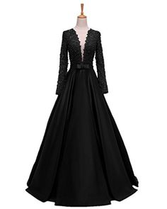 83de3484f9d3a Promworld Womens VNeck Evening Party Dress Lace Long Sleeve Prom Dresses  Black US16   Check out
