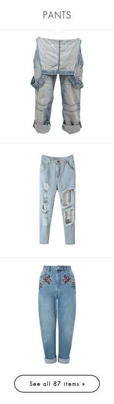 """""""PANTS"""" by teenage-girl-documentary on Polyvore featuring pants, bottoms, jeans, overalls, mens jeans, blue, cutout jeans, blue jeans, cut out jeans and denim"""