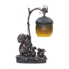 Piquant 15 in. Brown Squirrel Acorn Light Lamp