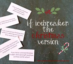 """The Christmas version of the """"If"""" game is a great icebreaker foryour Women's Ministry Christmas fellowship, small group Christmas party, Youth Christmas celebration, or Christmas office party. Questions range from serious to fun!"""