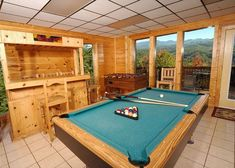 Redneck Ritz -- You will be impressed with your own dry oak tavern bar, foosball and pool table for the whole family/friends to enjoy. Gatlinburg Tennessee Cabins, Gatlinburg Cabin Rentals, Pigeon Forge Cabins, Luxury Cabin, Game Room, Aunt, Pool Table, Bar, Bedroom