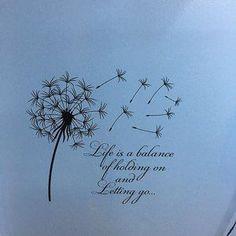 Dandelion Wall Decal Quote Life Is Keeping A Balance On Peel Off - Inspirational Quote Wall Art Vinyl Lettering Bedroom Flower Decor # 15 - Paardebloem muur Decal offerte leven Is een evenwicht houden op loslaten-inspirerende citaat muur Ar - Mom Tattoos, Cute Tattoos, Body Art Tattoos, Small Tattoos, In Memory Tattoos, Tatoos, Dandelion Quotes, Dandelion Wall Decal, Dandelion Tattoos