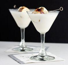 Christmas Campfire Martini: Marshmallow Vodka (Fluffed), Tres Leches Liqueur, Godiva Liqueur (White Chocolate), Half & Half, Marshmallow.