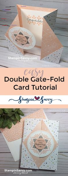 card making techniques tutorials Double Gate Fold Card Tutorial - Last Day for Snowflake Showcase! todays Double Gate Fold Card Tutorial and youll be making this fun card in no time! Last day to get the Happiness Surrounds amp; Card Making Tips, Card Making Tutorials, Card Making Techniques, Fun Fold Cards, Folded Cards, Cool Cards, Shaped Cards, Easel Cards, Card Patterns
