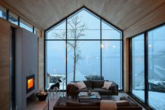 Reiseziele BALESTRAND cabin interior - living room - interior room V Small Living Rooms, Living Room Designs, Modern Living, Living Room Interior, Living Room Decor, Kitchen Interior, Modern Cabin Interior, Design Kitchen, Modern Decor