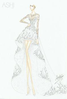 Ashi Wedding Dress for Whitney Port Wedding Dress Illustrations, Wedding Dress Sketches, Dress Design Sketches, Fashion Design Sketchbook, Fashion Illustration Sketches, Illustration Mode, Fashion Design Drawings, Designer Wedding Dresses, Fashion Sketches