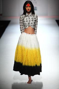 Fusion Outfit #Masaba Gupta fashion#Wills India Fashion Autumn/ Winter Fashion #2011#yellow#black#white