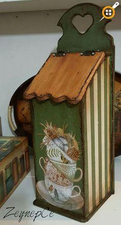Diy Vintage, Decoupage Vintage, Wooden Painting, Tole Painting, Mod Podge On Wood, Wood Crafts, Diy And Crafts, Pinterest Crafts, Tea Box