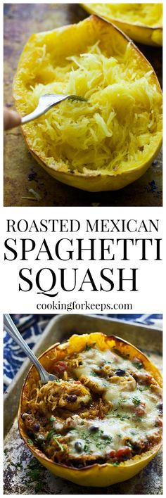 Roasted Mexican Spaghetti Squash - Super easy, quick and very few ingredients!