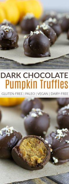 Pumpkin Pie Truffles | healthy fall dessert recipes | healthy truffle recipes | healthy pumpkin dessert recipes | healthy chocolate recipes | gluten free fall desserts | gluten free truffle recipes | how to make healthy truffles | paleo dessert recipes | paleo fall recipes | paleo dessert recipes | paleo pumpkin recipes | vegan fall dessert recipes | vegan pumpkin recipes | dairy-free fall desserts | dairy-free pumpkin recipes || The Real Food Dietitians