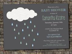 Cloud Baby Shower Invitation Baby Sprinkle by PurplelephantDesigns