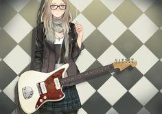 anime black and white girl guitar young - Google'da Ara