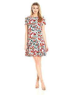 c636b00e3afe94 Lark & Ro Women's Short Sleeve Ruffle Hem Bottom Dress at Amazon Women's  Clothing store: