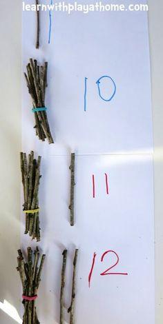 Counting and Grouping with Sticks. Playful Maths - Counting and Grouping with Sticks. Playful Maths … just like forest school - Maths Eyfs, Preschool Math, Kindergarten Math, Maths Fun, Numeracy, Maths Investigations Ks2, Forest School Activities, Nature Activities, Learning Activities
