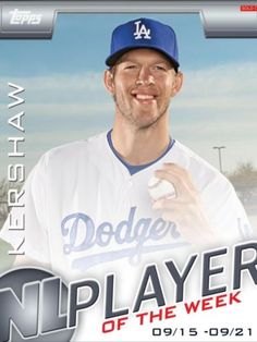 Topps Bunt NL Player of The Week Clayton Kershaw Dodgers Only 983 Exist | eBay