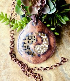 COPPER WEAVE 'Ying-Yang' Statement Necklace 33