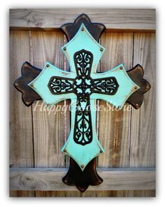 Wall CROSS - Wood Cross - Large - Antiqued Black and Turquoise with large black Iron Cross Wooden Cross Crafts, Wooden Crosses, Wall Crosses, Cork Crafts, Cross Flag, Cross Art, Cross Wall Decor, Cross Wreath, Mosaic Crosses
