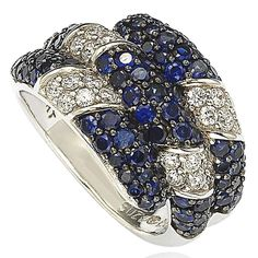 Suzy Levian Sapphire and Diamond in Sterling Silver and 18K Gold Swirling Ring