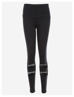 Active Mesh Insert Yoga Leggings (Black)