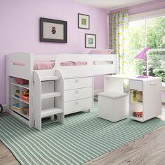 Viv + Rae Deion Twin Loft Bed with Storage Color: