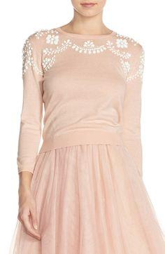 Jenny Yoo 'Millie' Beaded Cotton Blend Sweater
