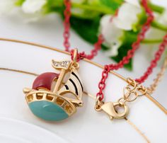 Red Alloy Pendant Necklace