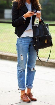 Cognac loafers, light wash boyfriend jeans, black blazer, white tee, grey sweater, black handbag