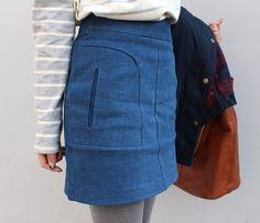 Fashion closet always have denim, check out this skirt with welt pockets at front, wear with crop top and flat sandals