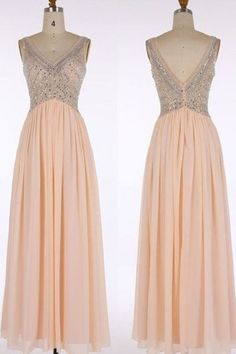 Blush Pink V-Neck Prom Dresses Long Crystal Beaded Evening Gowns A-Line V-Neck Chiffon Party Dress