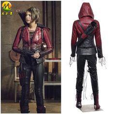 Movie Green Arrow Cosplay Red Arrow Thea Queen Costume for Women Superhero Red Arrow Hoodie Leather Jacket Outfit