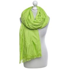 Pre-owned Pistachio colored scarf ($825) ❤ liked on Polyvore featuring accessories, scarves, green, fringe shawl, hermès, logo scarves, print scarves and hermes shawl