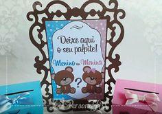 Deixe seu Chá de Revelação mais divertido!! Urna personalizada para seus convidados deixar o palpite! Menino ou Menina? KIT Contendo: - 2 Urnas personalizadas (menina e menina) - 100 Cartõezinhos (50 menina e 50 menino) - Placa de mesa personalizada MEDIDAS: - URNA 10x10x10cm - CAR... Baby Shower, Scrapbook, Frame, Ideas, Invitation Birthday, Games For Baby Shower, Relationship Gifts, Future Tense, Babyshower