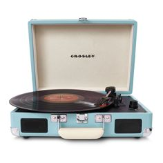 Enjoy vinyl sound and mobile convenience with the Crosley Radio Cruiser portable turntable. This three-speed, briefcase-style turntable lets you experience the sound of vinyl wherever you want to hear it. Vintage Stil, Vintage Love, Retro Vintage, Retro Baby, Vintage Theme, Vintage Music, Vintage Industrial, Vintage Signs, Industrial Design