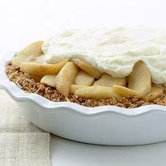 Layers of apples and mascarpone cheese top a granola bar crust in this unique dessert recipe.