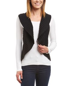 Take a look at this Black Ribbed Open Vest today!