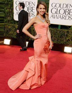 Jessica Alba wearing an Oscar de la Renta gown at the Golden Globes 2013. Just like Peaches-n-Cream Barbie.