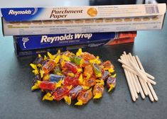 the original blog:  you will need jolly ranchers, candy sticks, parchment paper, foil & a cookie sheet  heat candies in oven for about 5 minutes at 200 degrees