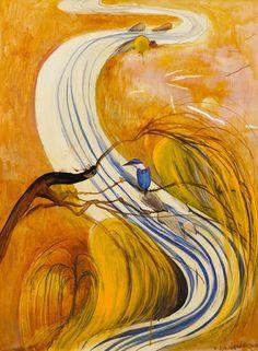 Brett Whiteley (Australian, Title: Study for Kingfisher , 1978 Medium: oil and collage on composition board Size: x cm. Australian Painting, Australian Artists, Australian Birds, Kunst Inspo, Art Inspo, Art And Illustration, Illustrations, Landscape Art, Landscape Paintings
