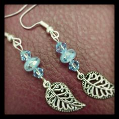 Blue and Silver Leaf Crystal Earrings by CCDesignsJewelry on Etsy