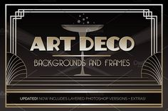 Art Deco Backgrounds and Frames by Wing's Art on @creativemarket