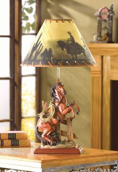 Western Table Desk Lamp Light Country Cabin Ranch Cowboy with Horse