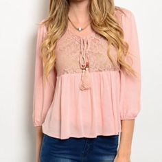 """Blush loose boho top lace accent This beautiful bohemian style top is blush pink, features lace bust and 3/4 length sleeves, empire waist. Tank not included. S, M, L available. S,(L:21.5"""", B:16.5"""", S:18.5"""") M,(L:22.5"""", B:17.5"""", S:18.5"""") L,(L:23"""", B:17.5"""", S:19"""") Please ask me to make you a separate listing. Brand new from vendor. DOES NOT HAVE TAGS. DO NOT PURCHASE THIS LISTING. Tops"""