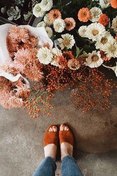 Fall orange heeled mules.