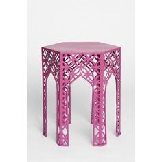 Magical Thinking Hexagon Side Table ($65) ❤ liked on Polyvore featuring home, furniture, tables, accent tables, table, maroon, hex table, hexagon side table and hexagon table