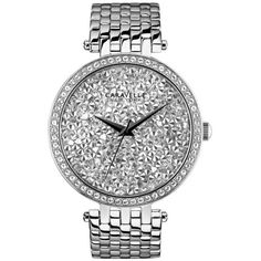 Caravelle New York Silver Womens Stainless Steel And Crystal Watch -... ($120) ❤ liked on Polyvore featuring jewelry, watches, silver, caravelle by bulova, stainless steel jewellery, caravelle by bulova watches, bezel jewelry and crystal watches