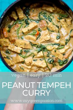 Who still thinks making curries is difficult? Of course, some curries definitely take some time to prepare, but this peanut […] Vegan Dinner Recipes, Delicious Vegan Recipes, Vegetarian Recipes, Cooking Recipes, Healthy Recipes, Tempeh, Tofu, Side Dish Recipes, Asian Recipes