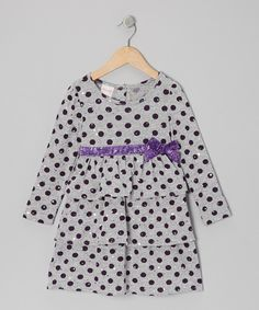 Take a look at this Gray Polka Dot Ruffle Dress - Infant, Toddler & Girls on zulily today!