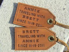 A set of personalized leather luggage tags so a little piece of you can go with them on all their travels — but not in a creepy way, I swear. 41 Wedding Gifts That Only Look Expensive Leather Anniversary Gift, 3rd Anniversary Gifts, 3 Year Wedding Anniversary, Homemade Anniversary Gifts, Leather Luggage Tags, Leather Gifts, Unique Wedding Gifts, Personalized Wedding Gifts, Personalized Luggage